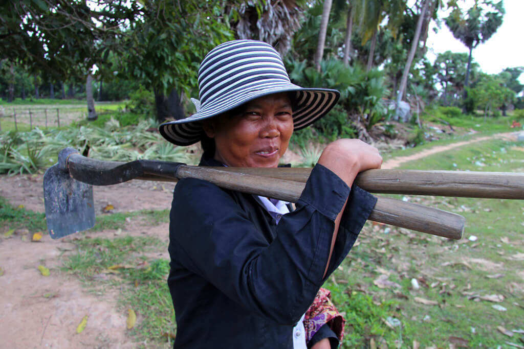 Cambodian local, working on a field