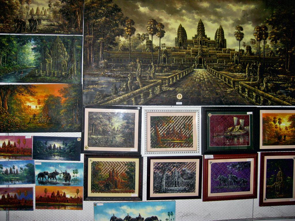 Gemälde von einheimischen Künstlern in Kambodscha