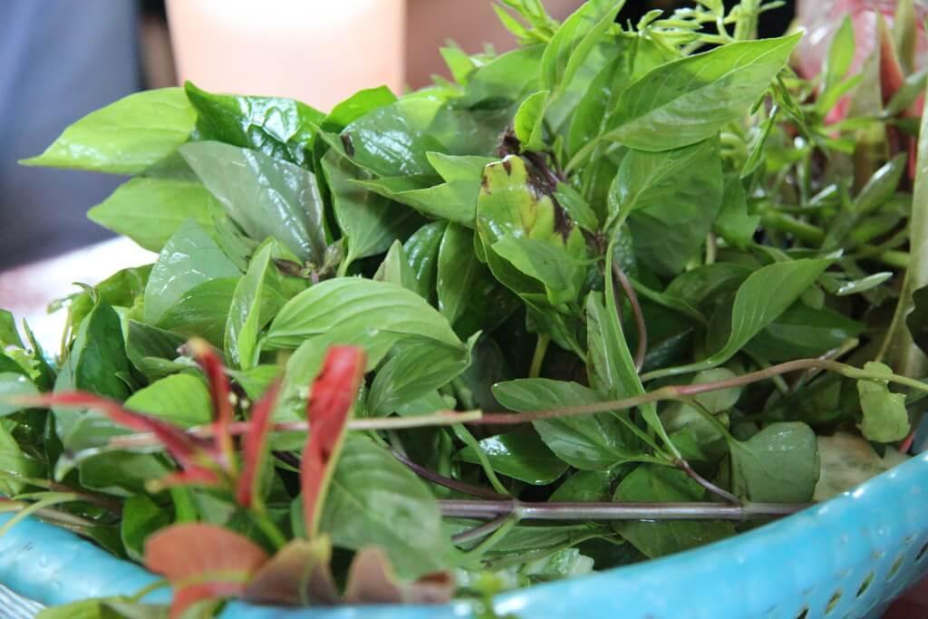 Kräuter und Salatblätter für kambpdschanische Pancakes