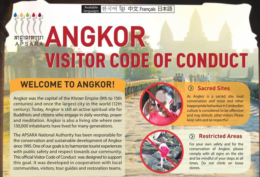Verhaltensregeln für die Tempel von Angkor