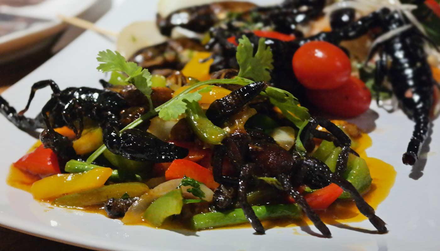 Skorpione im Bugs Cafe - Insektenrestaurant in Siem Reap