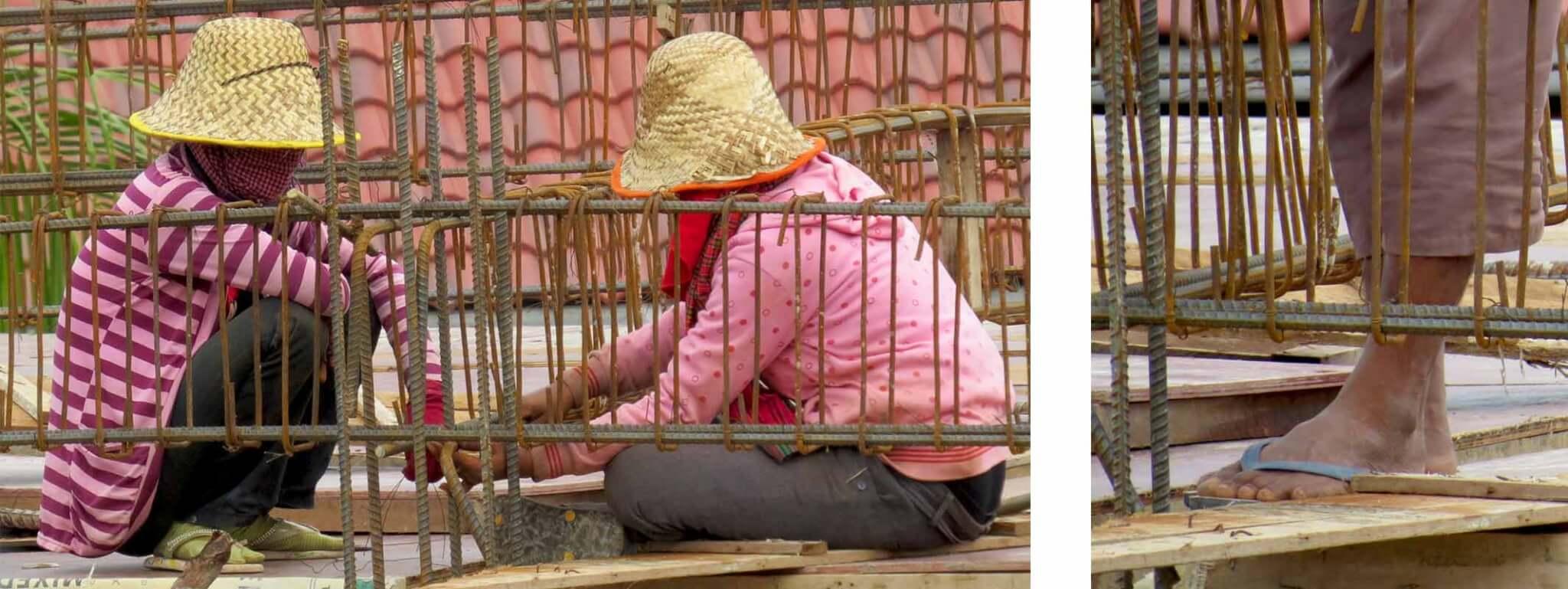 Hausbau, Bauarbeiter in Siem Reap