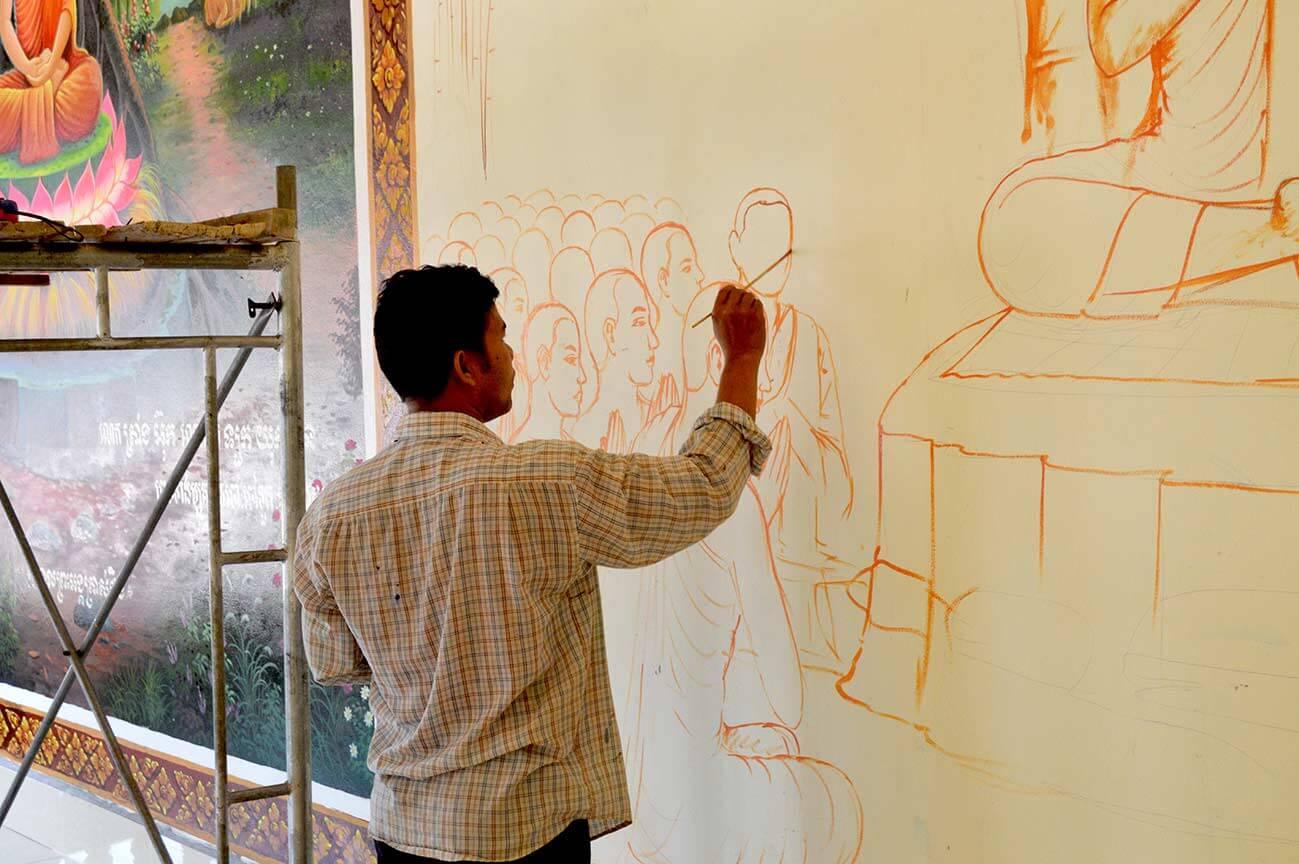 Wandmalerei, Pagode - Siem Reap
