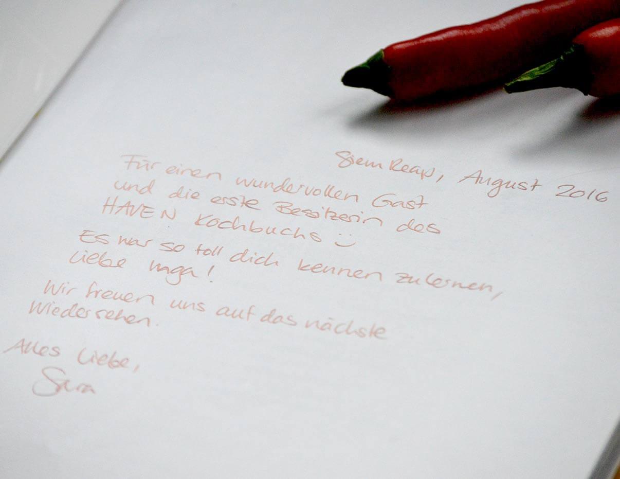 Widmung von Sara in ihrem Kochbuch für mich <3