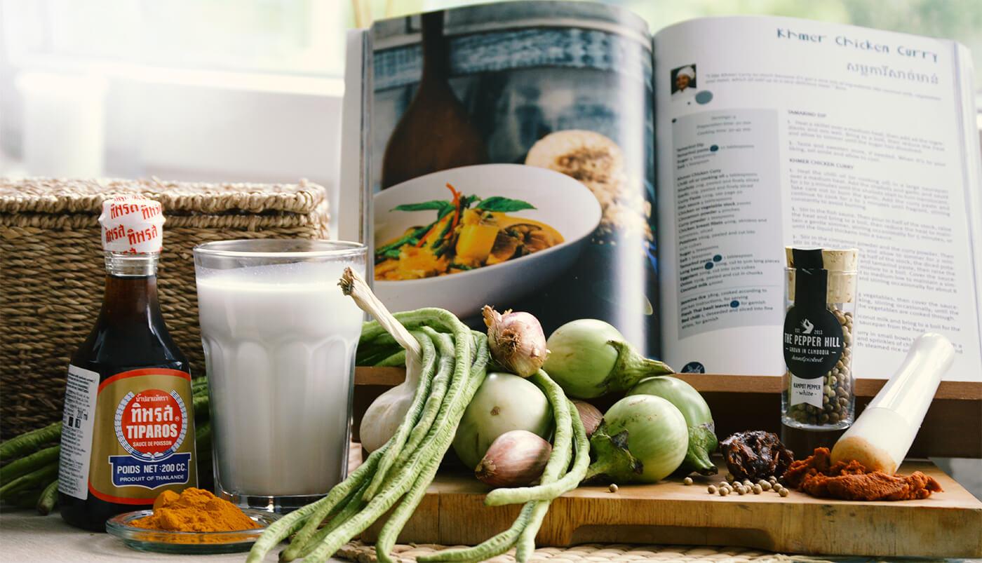Einige der Zutaten für Khmer Chicken Curry aus dem Haven Kochbuch