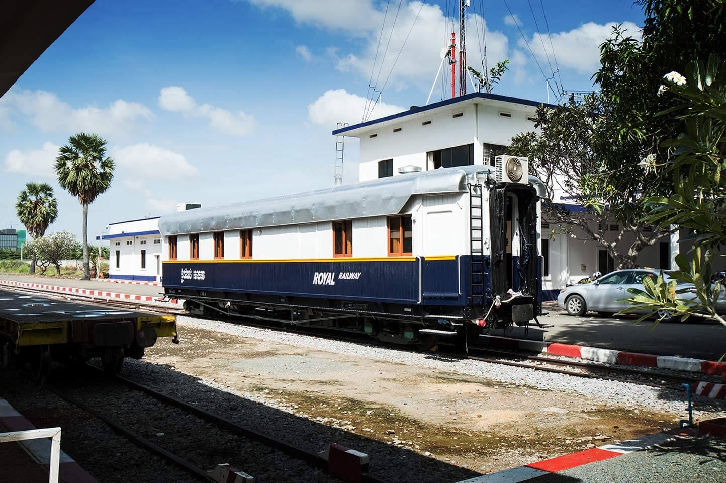 Eisenbahnwaggon am Bahnhof in Phnom Penh