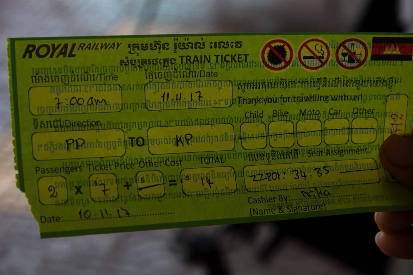 Fahrkarte - für den Zug in Kambodscha