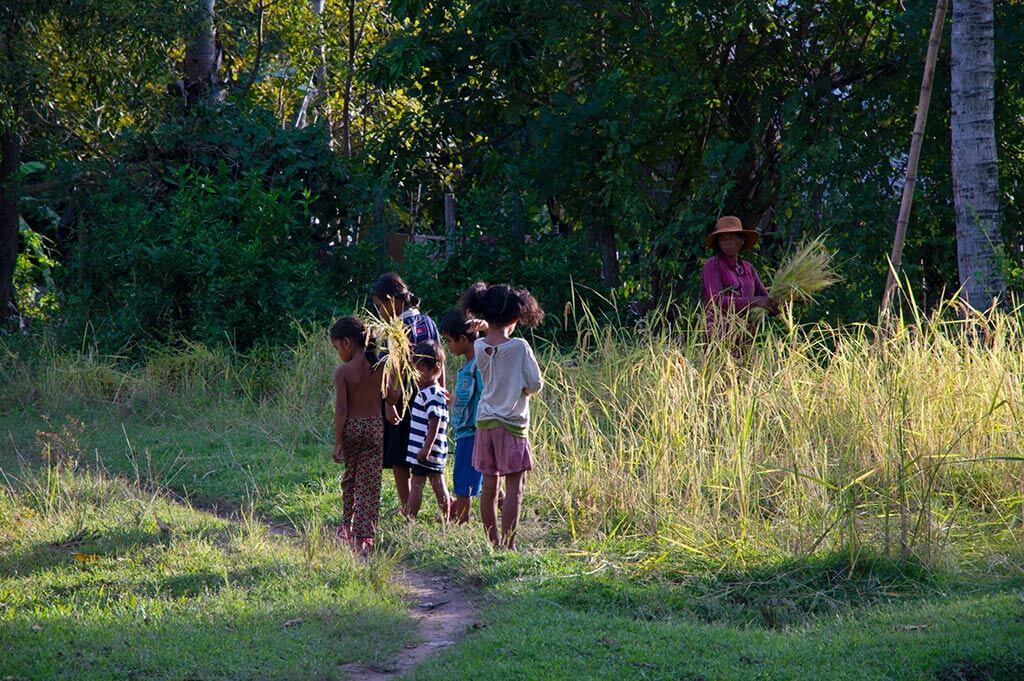 Kinder auf einem Feld in Kambodscha