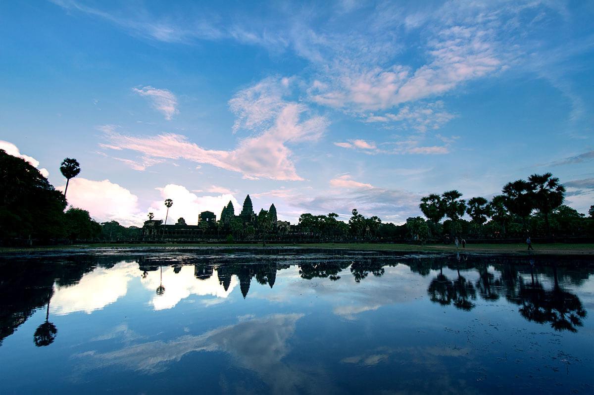 Angkor Wat Silhouette, Spätnachmittag am nördlichen Seerosenteich