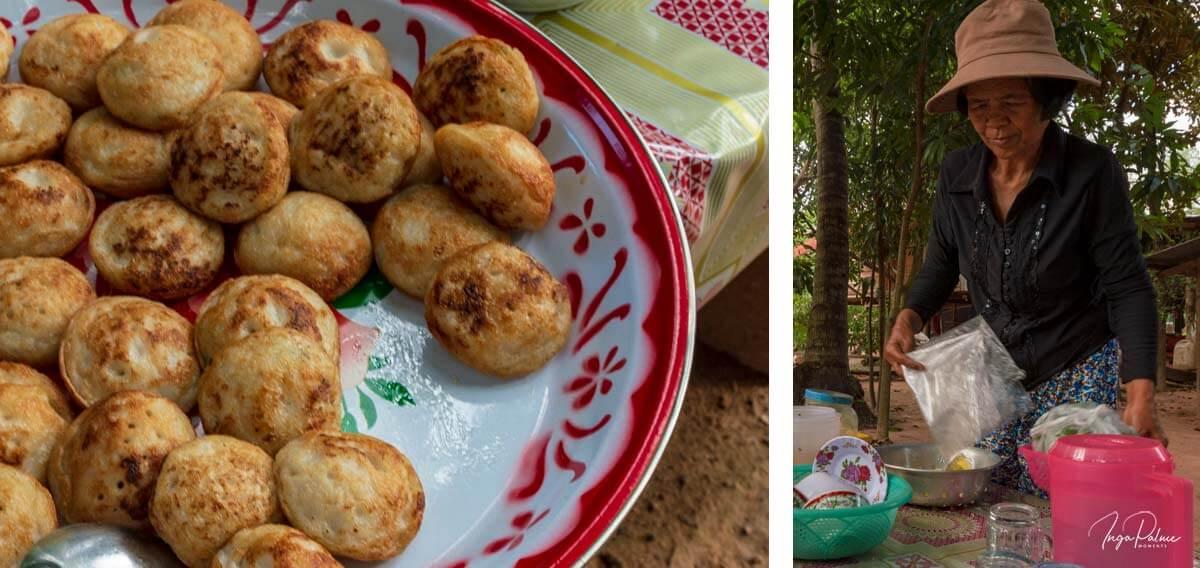 Bäuerin mit Mini Pfannkuchen an einem kleinen Stand in Siem Reap, Kambodscha
