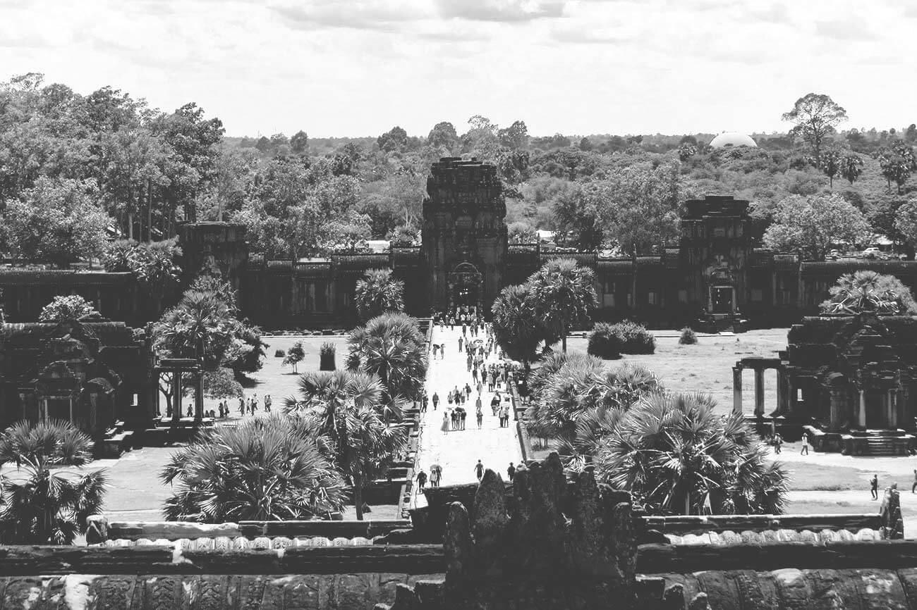 Angkor Wat - 3. Etage Ausblick nach Westen zum Gopuram