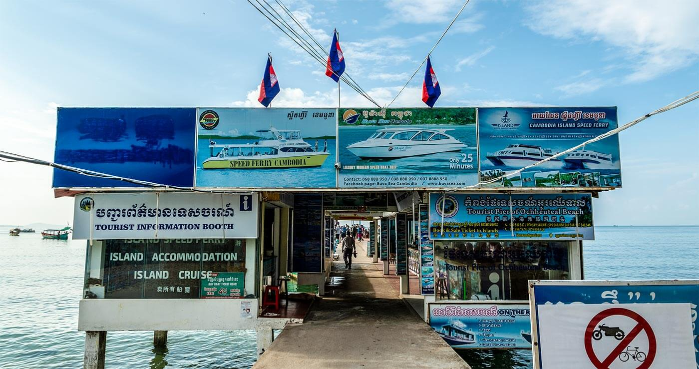 Ticketverkauf am Serendipity Pier in Sihanoukville
