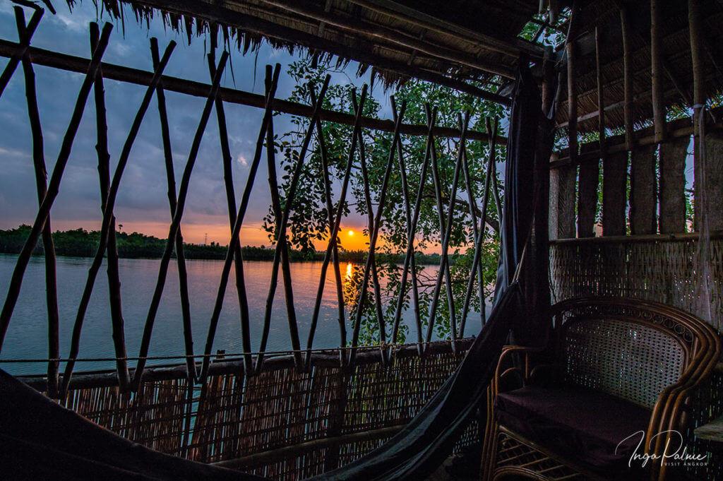 Kampot - Fluss, Ausblick vom Hotel