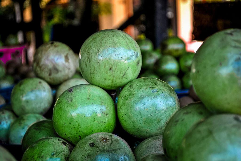 Grüne runde Milchfrucht, die gestapelt auf einem Markt angeboten werden.