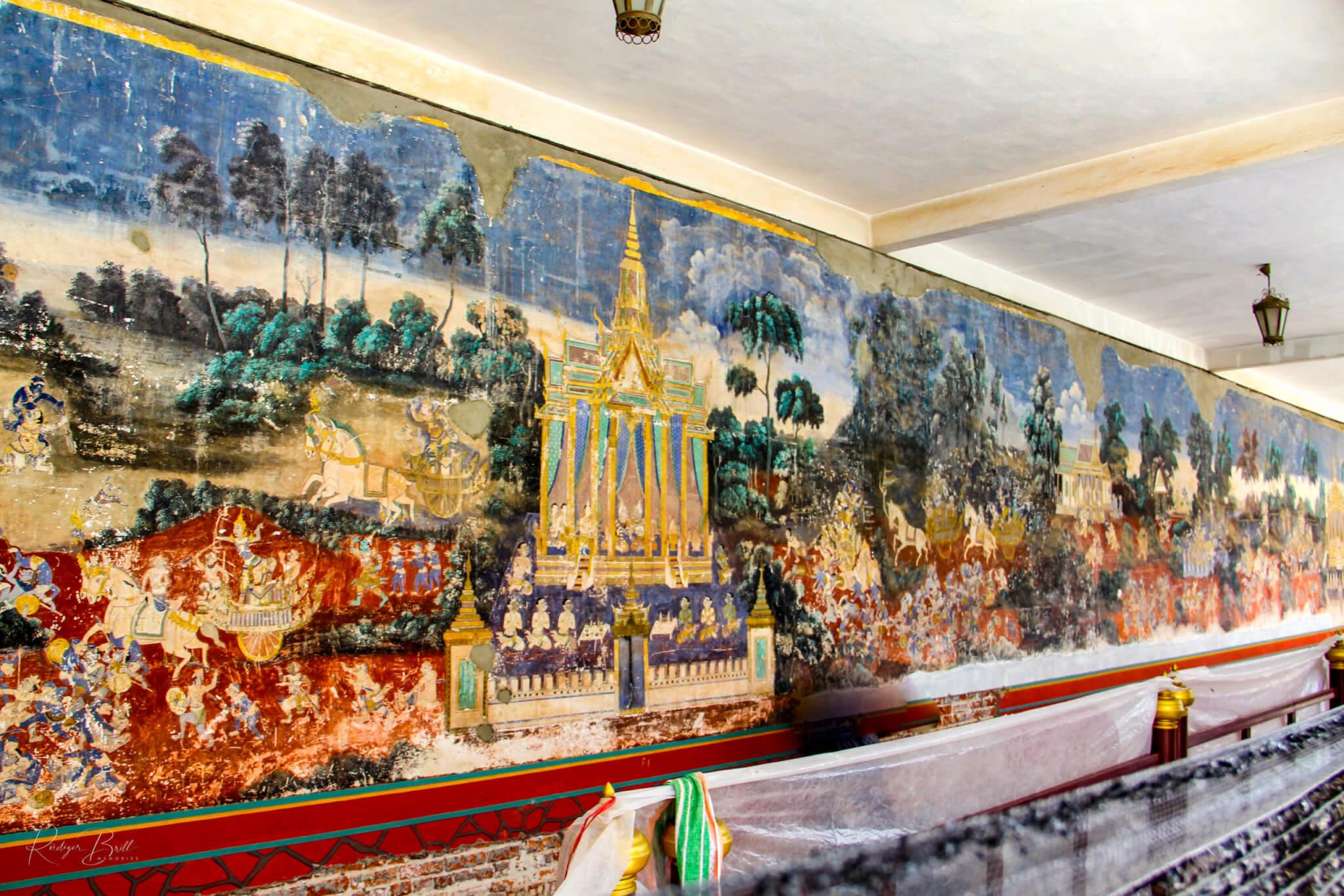 Die Malerei in der Silberpagode im Königspalast in Phnom Penh - Szenen aus dem Reamker Epos