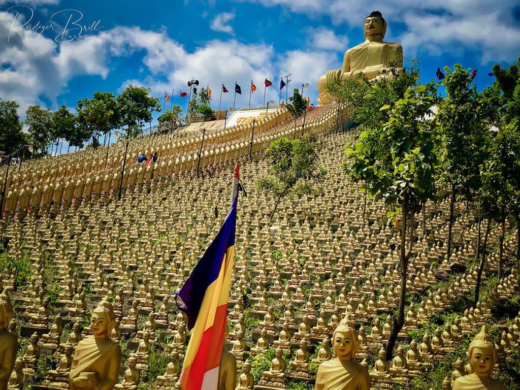 Vergoldete Buddhas am Wat Puth Piri in Kambodscha