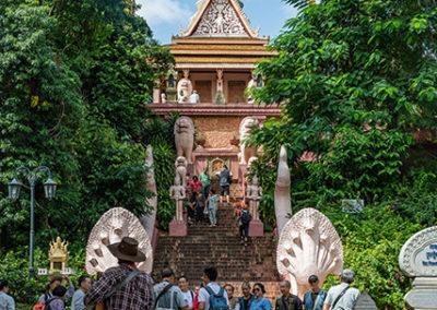 Treppe zum Wat Phnom in Phnom Penh