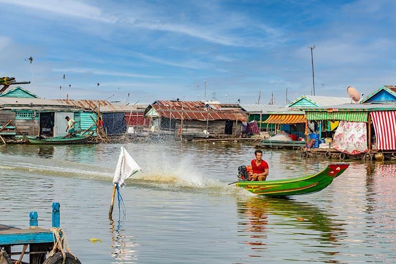 Floating Village in Krokor in der Provinz Pursat, Kambodscha