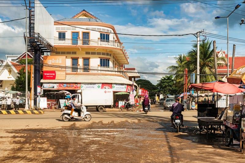 Hauptstraße in Kampong Thom - Provinz in Kambodscha