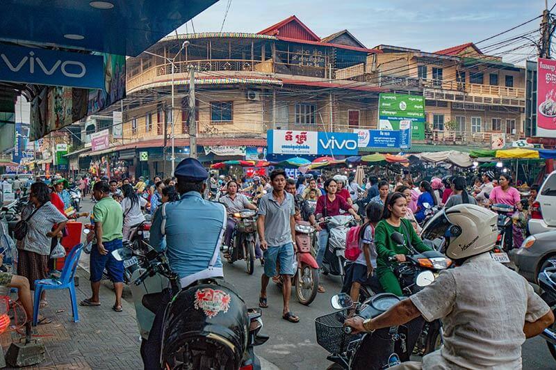 Innenstadt von Kampong Chhnam, Hauptstadt der gleichnamigen Provinz von Kambodscha