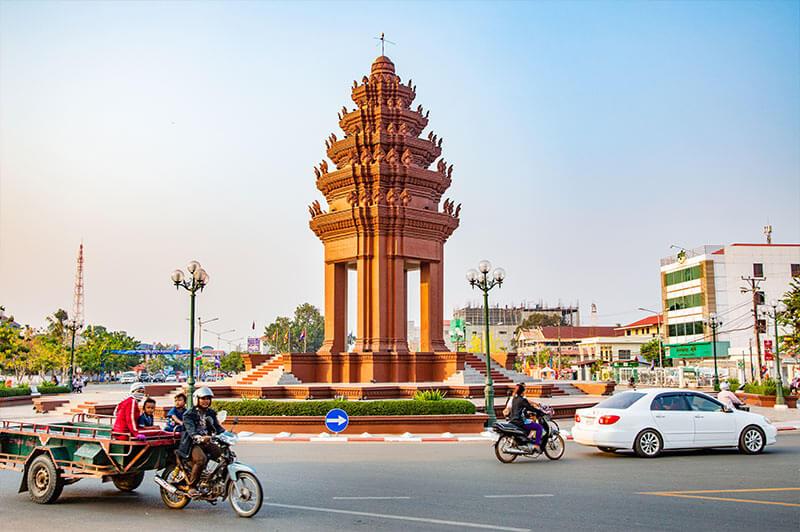 Kreisverkehr in Kampong Chhnang, Provinz in Kambodscha