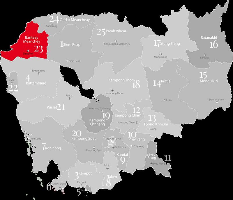 Banteay Meanchey - Provinz Kambodscha und Haupt-Grenzübergang zu Thailand