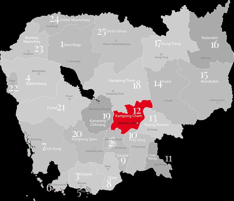 Kampog Cham - Landkarte, Provinz n Kambodscha nordlöstlich von Phnom Penh
