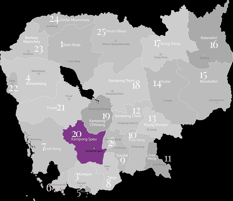 Kampong Speu - Landkarte, Provinz in Kambodscha im mittleren Süden des Landes