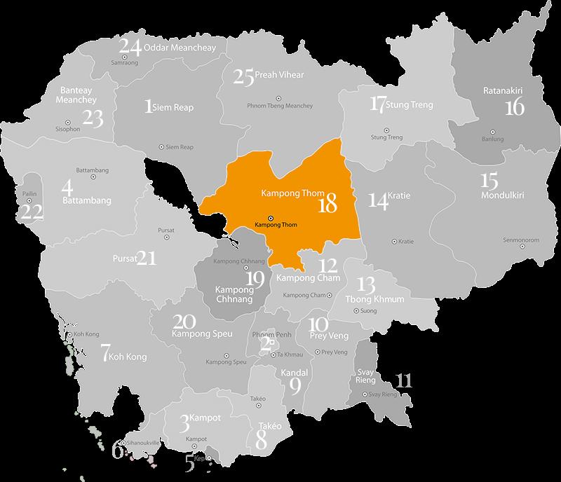 Kampong Thom - Landkarte, Provinz im Zentrum von Kambodscha
