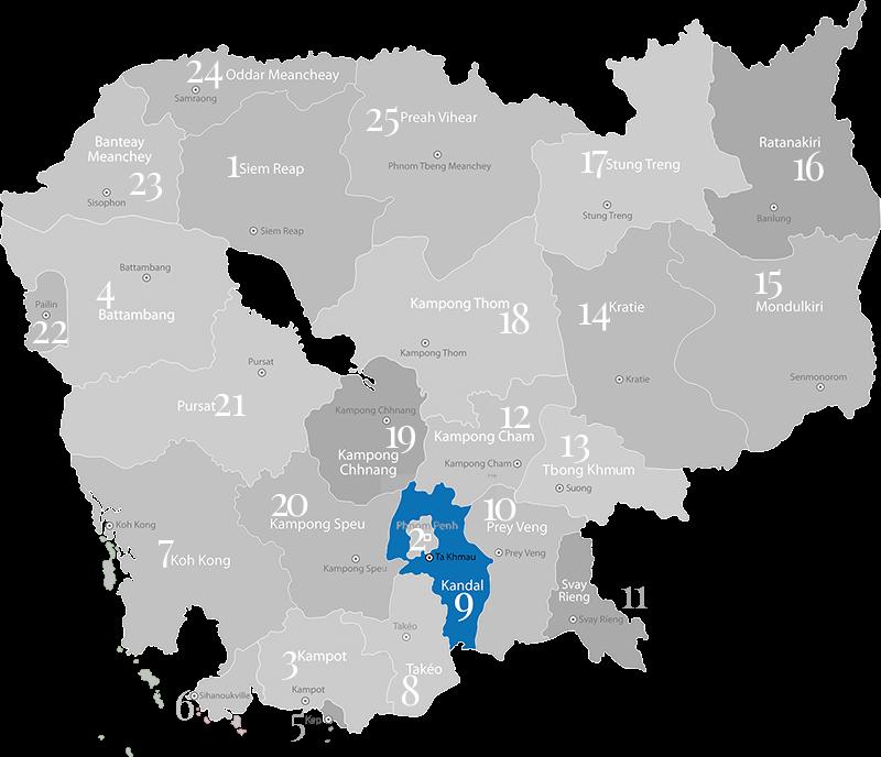 Kandal - Landkarte, Provinz in Kambodscha im Süden um die Hauptstadt Phnom Penh