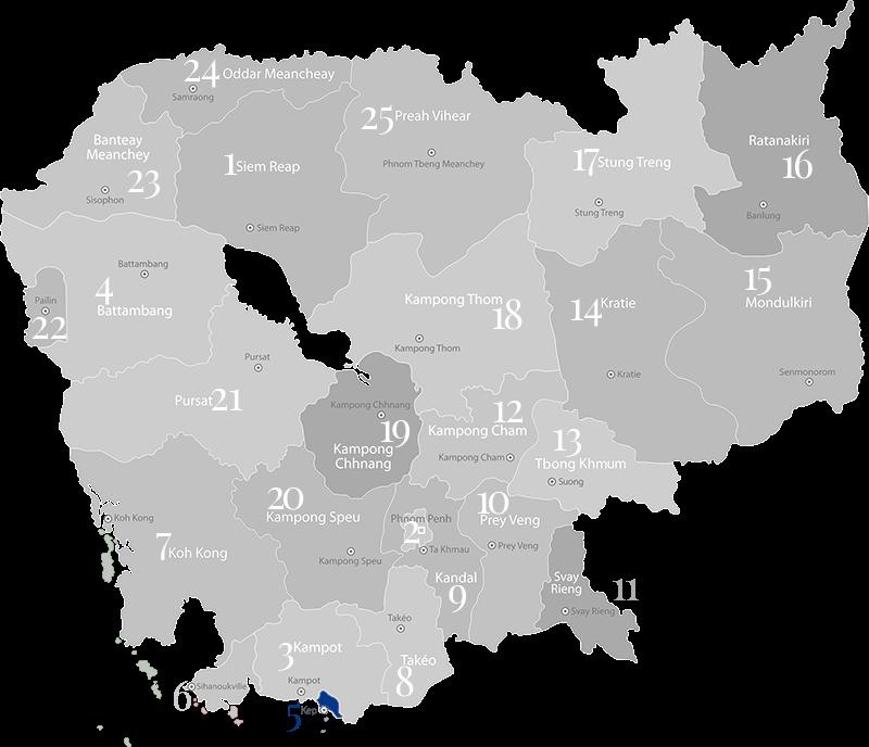 Kep - Landkarte, Provinz und Stadt in Kambodscha im Süden des Landes an der Küste