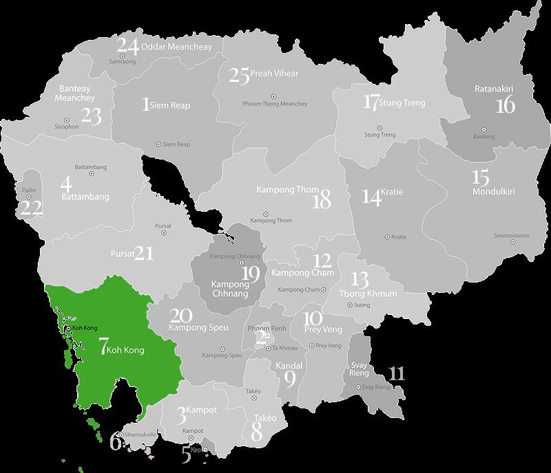 Koh Kong - Landkarte, Provinz in Kambodscha im Süd-Westen des Landes