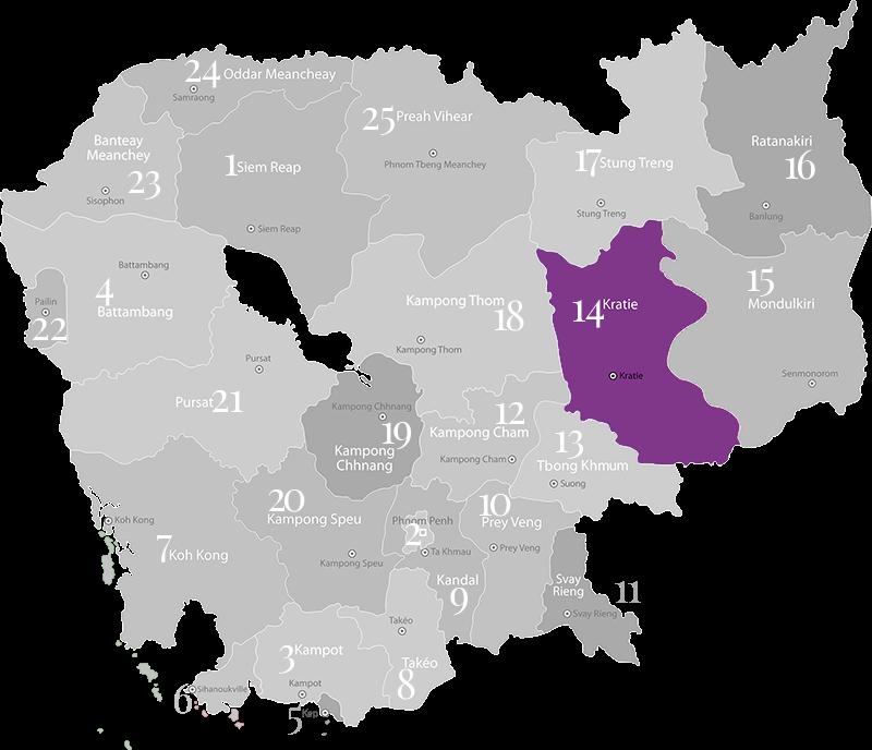 Kratie - Landkarte, Provinz in Kambodscha im mittleren Osten an der Grenze zu Vietnam