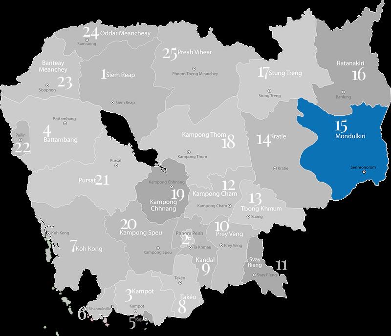 Mondulkiri - Landkarte, Provinz in Kambodscha im Osten an der Grenze zu Vietnam