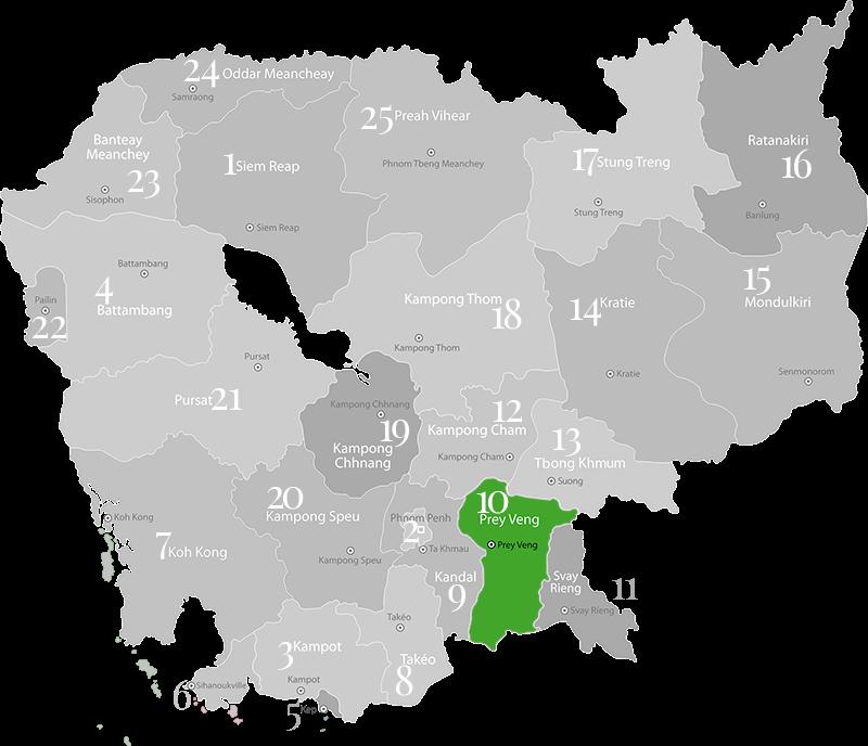 Prey Veng - Landkarte, Provinz in Kambodscha im Süden