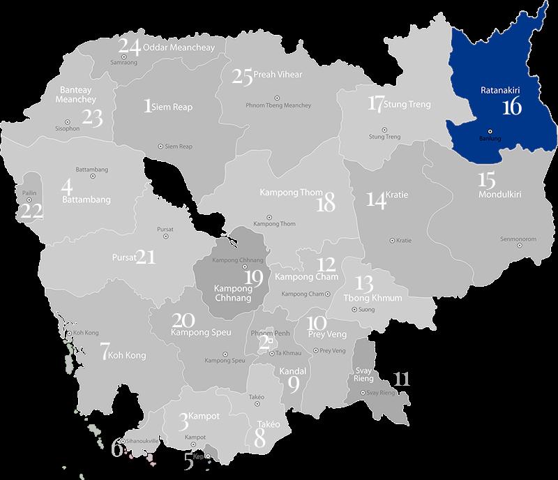 Ratanakiri - Landkarte, Provinz in Kambodscha im Nordosten an der Grenze zu Vietnam und Laos