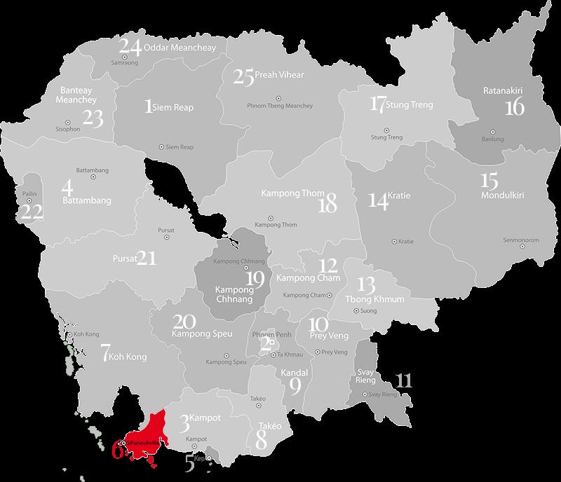 Sihanoukville - Landkarte, Provinz und Stadt in Kambodscha im Süden des Landes an der Küste.