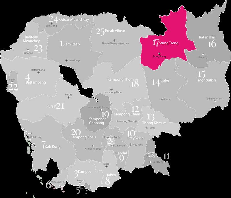 Stung Treng - Landkarte, Provinz in Kambodscha im Norden mit einzigem Grenzübergang zwischen Laos