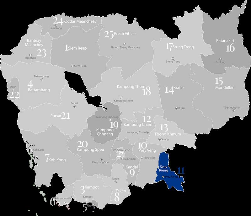 Svai Rieng - Landkarte, Provinz im Süden von Kambodscha an der Grenze zu Vietnam