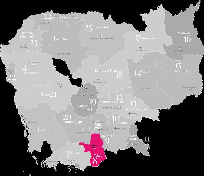 Takèo - Landkarte, Provinz in Kambodscha im Süden des Landes
