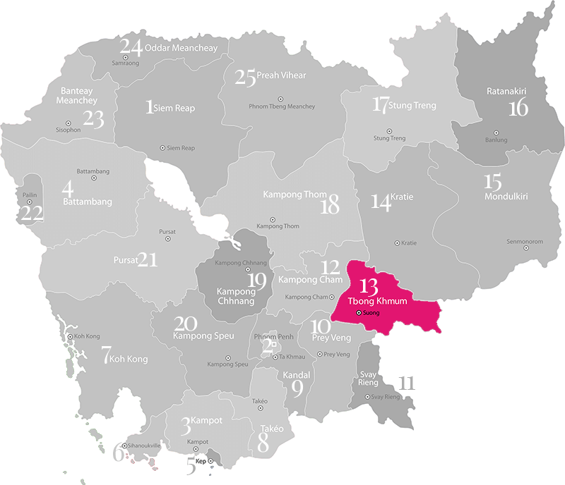Tbong Khmum - Landkarte, Provinz in Kambodscha