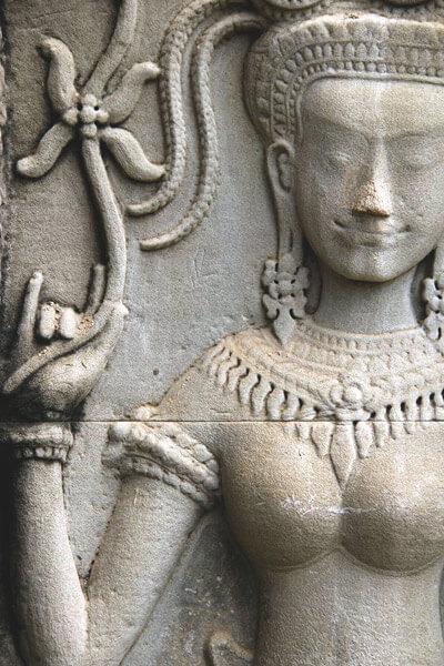 Apsara dancer with lotos flower