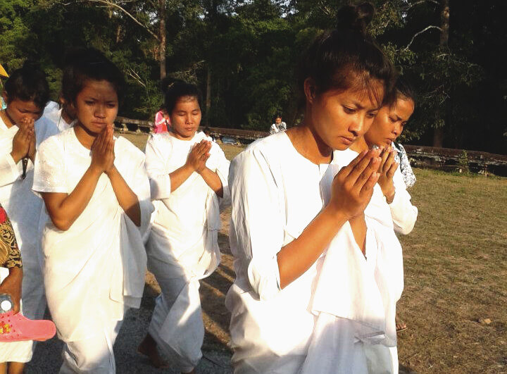 White nuns at Visak Bochea | Angkor Wat