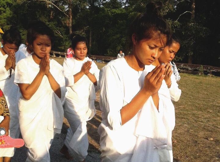 White nuns at Visak Bochea | Angkor Wat