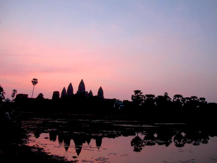 Beautiful sunrise at Angkor Wat