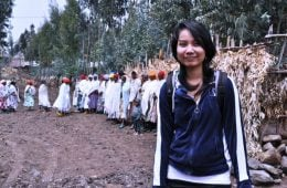 Nila in Ethiopia on a reporting trip