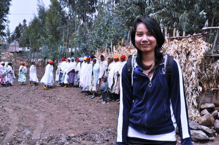 Nila in Ethiopia on a reporting trip