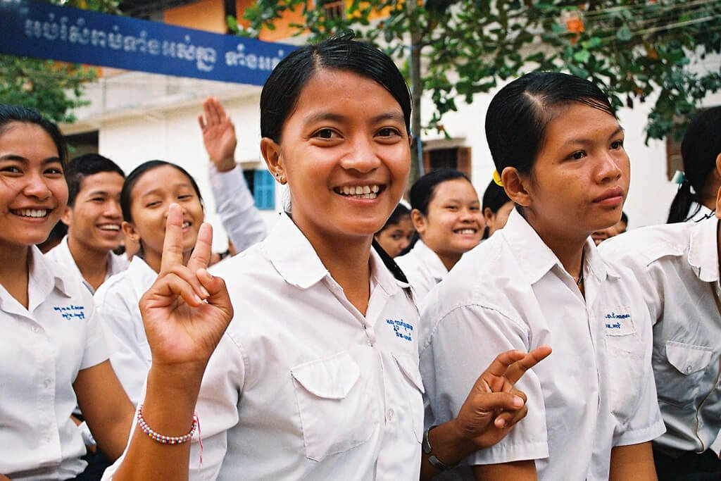 19% of all students are women in Cambodia - this is me at highschool, a couple of years ago