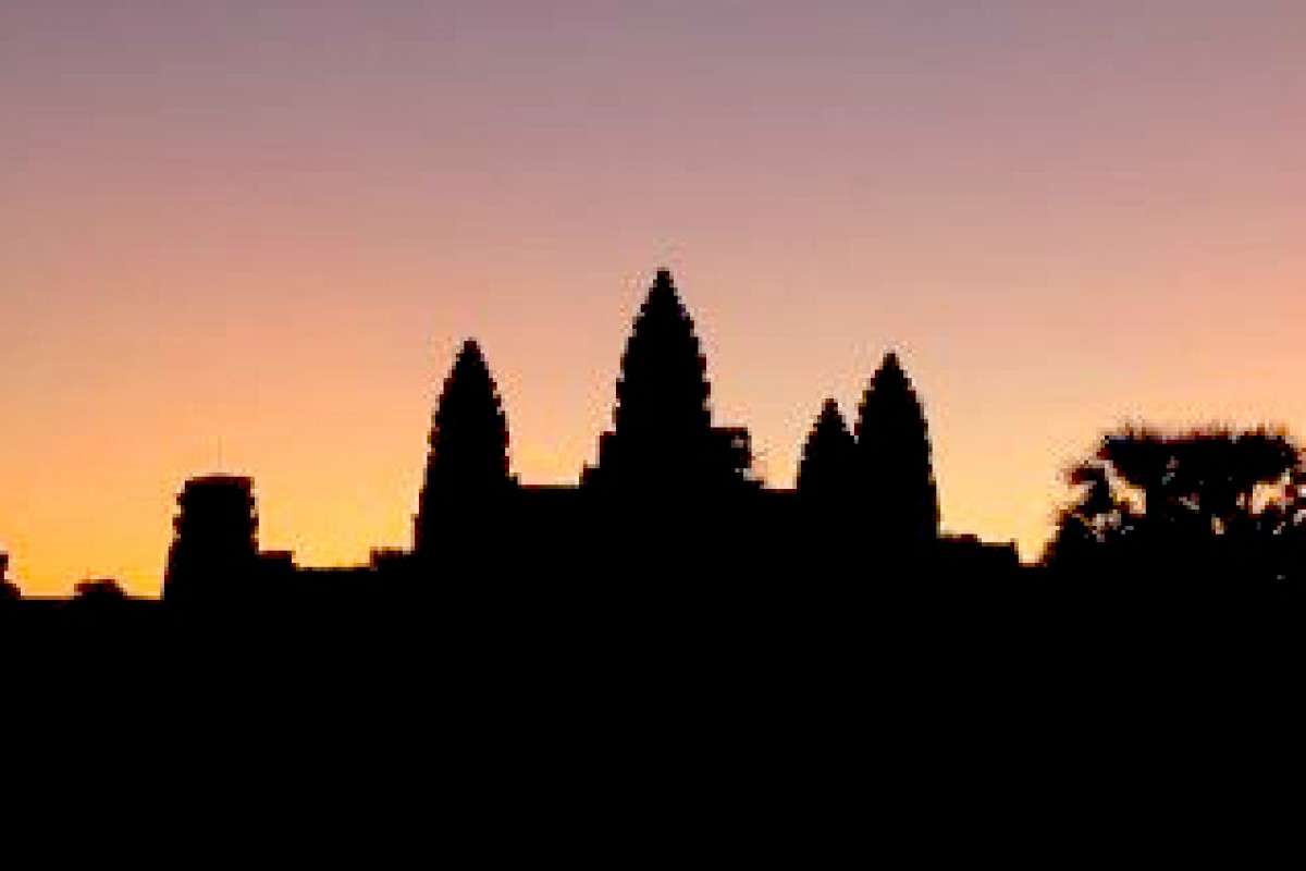Sunrise at Angkor Wat during the equinox in Cambodia