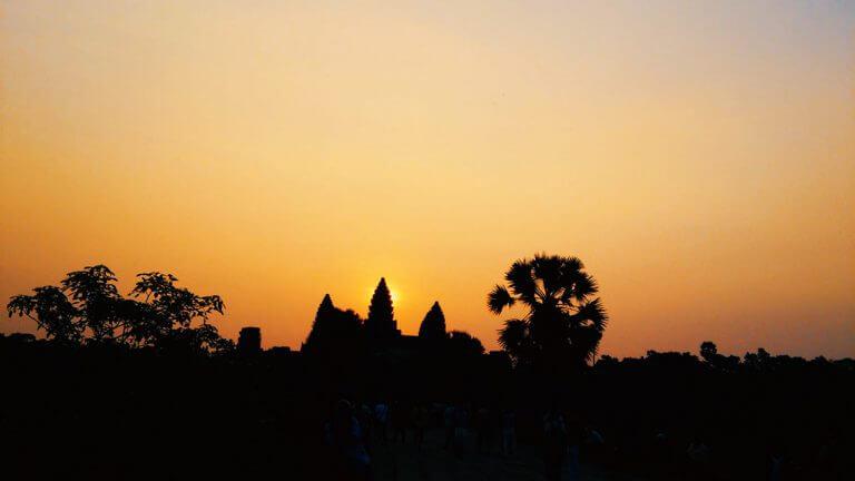 Sunrise at Angkor Wat during the equinox in Cambodia